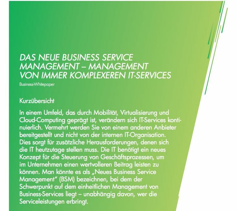 Das neue Business Service Management (c) Hewlett-Packard GmbH